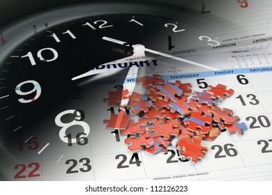 Jigsaw Puzzle, Calendar and Clock