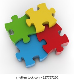 Jigsaw Puzzle. Clipping path included for easy selection.