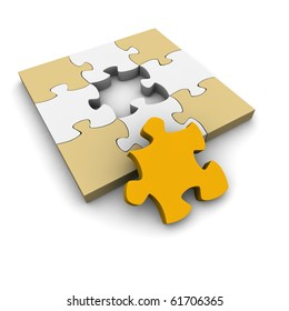 Jigsaw puzzle with last missing piece. 3d rendered illustration.