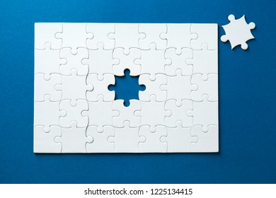Jigsaw puzzle on color background