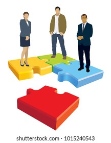 Jigsaw puzzle organization. Businesspeople are standing on jigsaw puzzle shown as an organizational structure of the company.