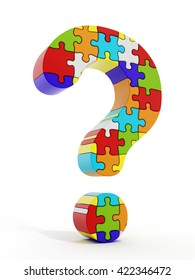 Jigsaw puzzle pieces forming a question mark isolated on white background 3D illustration