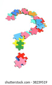 Jigsaw Puzzle Pieces In Question Mark