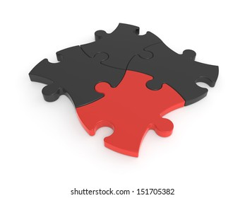 Jigsaw Puzzle Pieces Red and Black