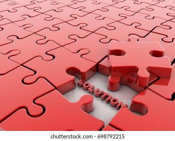 Jigsaw Puzzle Solution 3d illustration