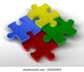 Jigsaw Puzzle Staggered Multicolored pieces Staggered, joined together