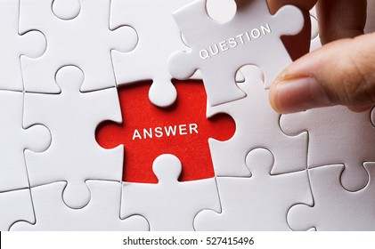 Jigsaw puzzle with word question and answer