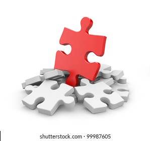 Jigsaw puzzles. Image contain clipping path