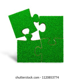 Jigsaw puzzles made out of green grass, isolated on white background, 3D illustration.