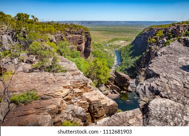 Jim Jim Falls, Kakadu National Park Northern Territory, Australia, 07-19-2017,View over Arnhem Plateau an Kakadu National Park from top of the Jim Jim Falls