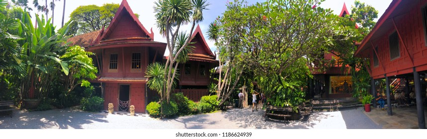 Jim Thompson Museum in Thailand, Bangkok. House of the founder of Jim Thompson Thai Silk Company. He disappeared on a trip in Malaysia in 1967. A Historic traditional Thai style wooden house.