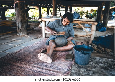 Jim Thomson Farm , Nakhon Ratchasima, Thailand  - 1/2/2018  The villagers who lived at Jim Thomson Farm were determined to make pottery.