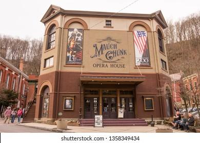 Jim Thorp, PA / USA - March 30, 2019: Mauch Chank Opera House in Jim Thorp, PA.