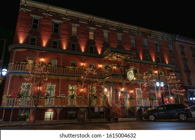 Jim Thorpe, PA - 22 December 2019: The Inn at Jim Thorpe decorated for holiday season.