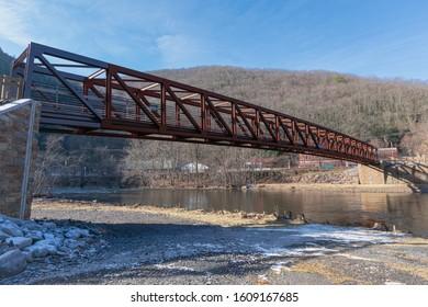 Jim Thorpe, PA - 24 December 2019: Walking bridge over the Lehigh River