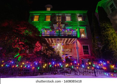 Jim Thorpe, PA - December 22 2019: The famous Parsonage Bed & Breakfast decorated for the holidays.