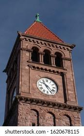 Jim Thorpe, PA / USA - Dec 24 2019: Clock tower in downtown Jim Thorpe