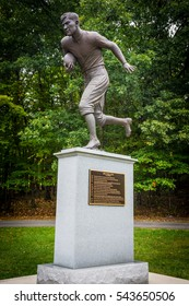 JIM THORPE, PENNSYLVANIA, - SEPTEMBER 28: The Jim Thorpe football monument in his Memorial Park on September 28 2016 in Jim Thorpe Pennsylvania.