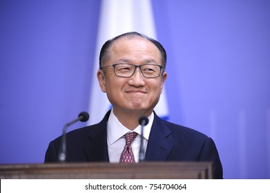 Jim Yong Kim, the President of the World Bank Group, keeps speech during briefing at the Cabinet of Ministry of Ukraine. November 14, 2017. Kiev, Ukraine
