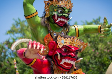 Jimbaran, Bali, Indonesia - March, 8, 2016: An Ogoh Ogoh statue on display in Jimbaran, Bali, during the Nyepi holiday to vanquish the bad spirits during the Balinese New Year in Bali, Indonesia.