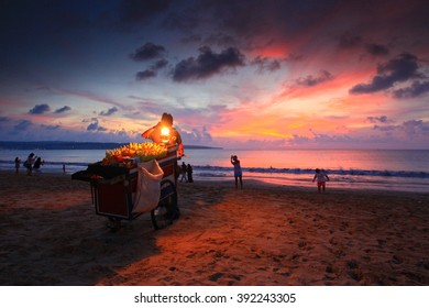 Jimbaran, Bali Indonesia most famous roasted corn with colorful sunset in background