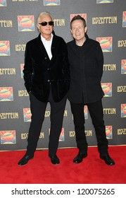 Jimmy Page and John Paul Jones at the Led Zeppelin Celebration Day DVD screening launch held at Hammersmith Apollo London. 12/10/2012 Picture by: Henry Harris