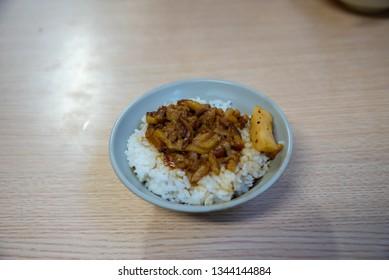 Jin Feng Lu Rou Fan ( Jinfeng Luroufan or Jin Feng Braised Pork Rice ). Taipei's Most Famous Braised Pork Rice Bowl restaurant.