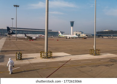 Jinan, China, June 2020, Control Tower, Terminal Building and Apron at  Jinan Yaoqiang International Airport (TNA, ZSJN) during Coronavirus lockdown with Boeing 737 max stored on apron