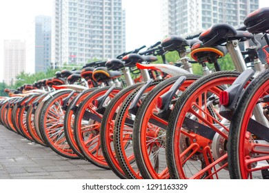 Jinan China-30 August 2018:Mobike public bicycle wheels parking on street
