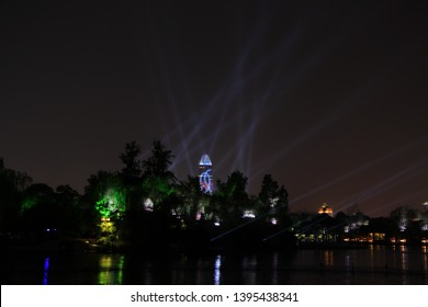 Jinan, Shandong Province, China, May 10, 2019, Daming Lake, with bright night, picturesque scenery and charming night, greets guests from all directions