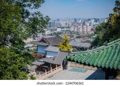 Jinan, Shandong Province, China, Sept 30, 2018, City view of Jinan from 1000 Buddha mountain