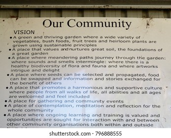 Jindivich, Victoria, Australia January 2018.     Decorations and notice boards in Community Garden