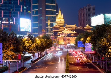 Jing'an Temple is a Buddhist temple on the West Nanjing Road in Shanghai, China. Jing'an District, where it is located, is named after the temple.