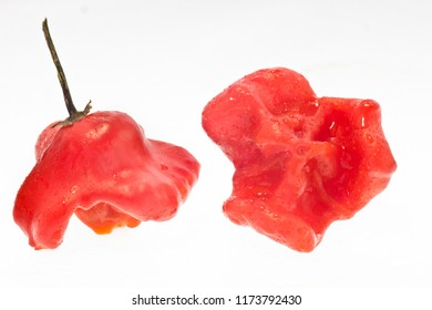 Jingle bell peppers (Bishops crown) isolated on white, exotic breed of peppers.
