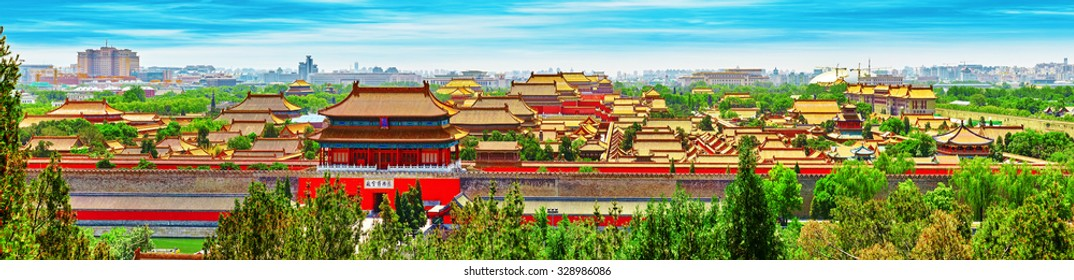Jingshan Park,panorama above on  the Forbidden City, Beijing. China
