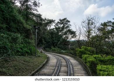 Jinguashi gold ecological park abandoned railroad in taiwan.