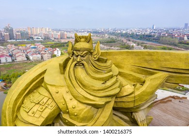 JINGZHOU, CHINA -  Mar 31 2019: The biggest Guan Yu Statue in the Jingzhou City China. Guan Yu Temple. Travel in Jingzhou City. This temple famous for who love Three Kingdoms series.