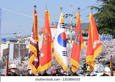 Jinhae, South Korea, April 2017 Korean Navy officers marching during Jinhae Naval Festival and Jinhae Cherry Blossom Festival