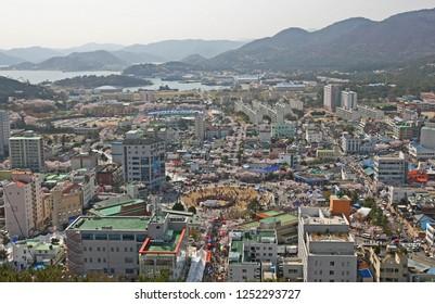 Jinhae, South Korea - April 8, 2011: A beautiful view of the city of Jinhae, South Korea. Jinhae is on the south coast of Korea, surrounded by the sea an mountains.