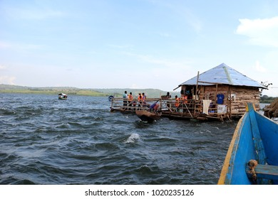 Jinja, Uganda - 4 JUNE 2017: The source of river Nile. Lake of Viktoria. Africa tour.