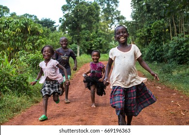Jinja, Uganda - Circa November 2016: A group of African children are enjoying the day.
