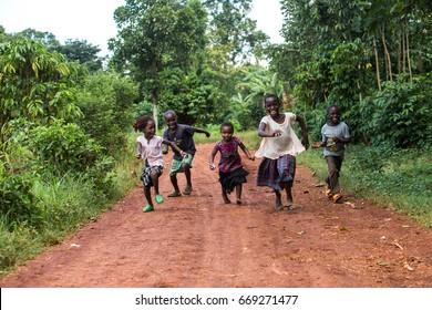 Jinja, Uganda - Circa November 2016: A group of African children are enjoying the day.