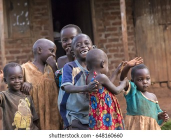 JINJA, UGANDA - MAY 16: African Kids pose for the camera in Jinja, Uganda in 2017