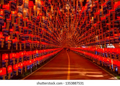 JINJU , SOUTH KOREA - OCT 07 : Tunnel of lanterns during the Jinju Lantern Festival in Jinju , South Korea on October 07 2018