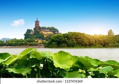 Jinshan is a Buddhist holy place in the south of the Yangtze River. Zhenjiang, China.