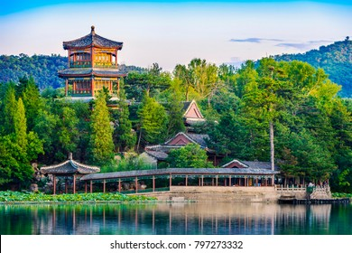 Jinshan Tower (Little Golden Mountain). Located in Chengde Mountain Resort. It is a large complex of imperial palaces and gardens situated in the city of Chengde in Hebei, China.