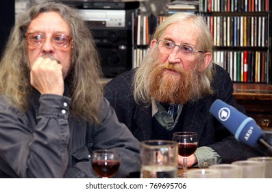 Jiri Kabes and Vratislav Brabenec, members of Plastic People Of The Universe, press conference in occasion of the new CD Maska za maskou in Unijazz club, Praha, Czech Republic, 13th of January 2010