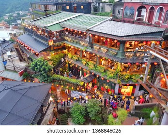 Jiufen April13,2019: Many tourist in restaurant at old street Jiufen Taiwan