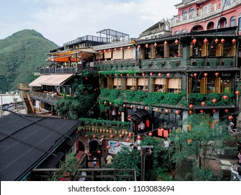 Jiufen old street, Taiwan. April 23, 2018. View of Tea house, the very poppular landmark at Jiufen Old street and there is a famous scenic in Ruifang District, New Taipei City, Taiwan.