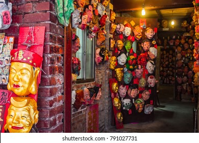 Jiufen, Taipei / Taiwan - May 1st 2017: Mask maker of Jiufen